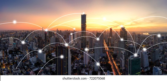 Panorama City skyline with network connection concept