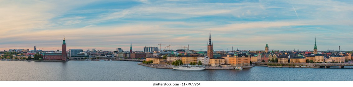 A panorama of the city of Stockholm at sunset.