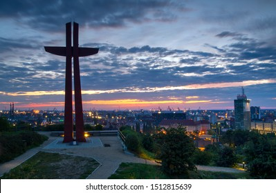 Panorama of the city at sunrise seen from Gora Gradowa. Gdańsk, Poland.