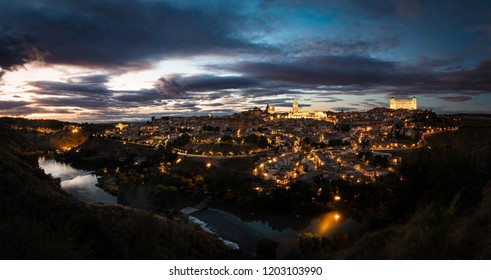 Panorama of the city of Toledo Spain at sunset