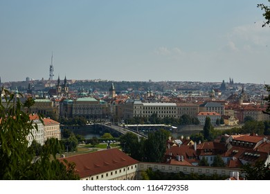 Panorama of the city with a view of Charles Bridge Prague, Czech Republic.