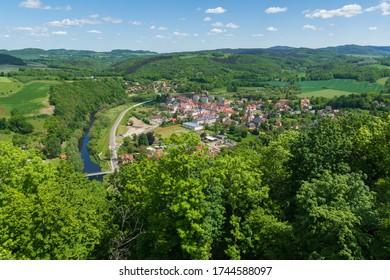 Panorama of the city of Wlen - Valley of the Bobr River near Jelenia Gora - Shutterstock ID 1744588097