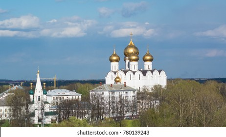 Panorama of the city of Yaroslavl timelapse from the bell tower of the Spaso-Preobrazhensky monastery. Blue cloudy sky at sunny day