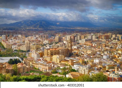 Panorama cityscape aerial view of Malaga, Spain. Santa Iglesia Cathedral Basilica of Lady of Incarnation.