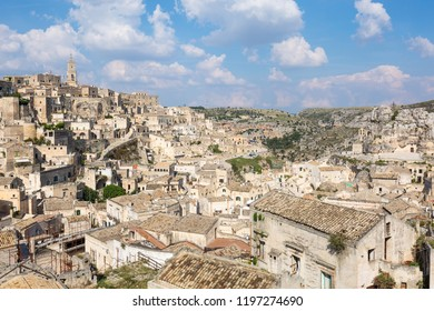 Panorama and cityscape of ancient town Matera in the area Basilicata, Italy