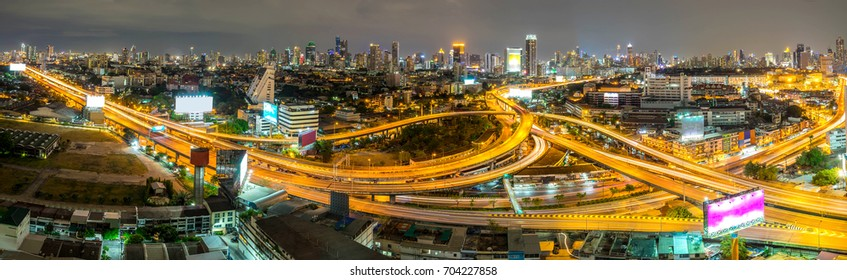 panorama cityscape of Bangkok city downtown at night ,panoramic landscape Thailand