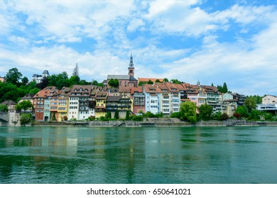 Panorama cityscape with colorful houses and water in river