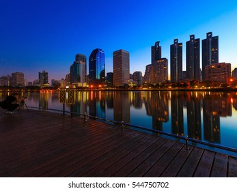 Panorama of cityscape with the modern building and sky line, benjakitti park Bangkok Thailand