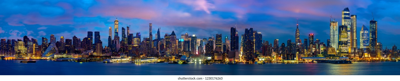 Panorama and cityscape of New york city night, manhattan side, USA, United states of America