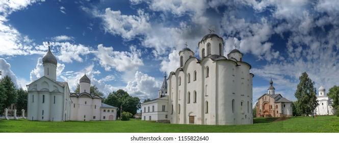 panorama cityscape old orthodox churches of Veliky Novgorod