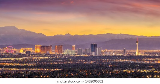 Panorama cityscape view of Las Vegas at sunset in Nevada, United States of America - Shutterstock ID 1482095882