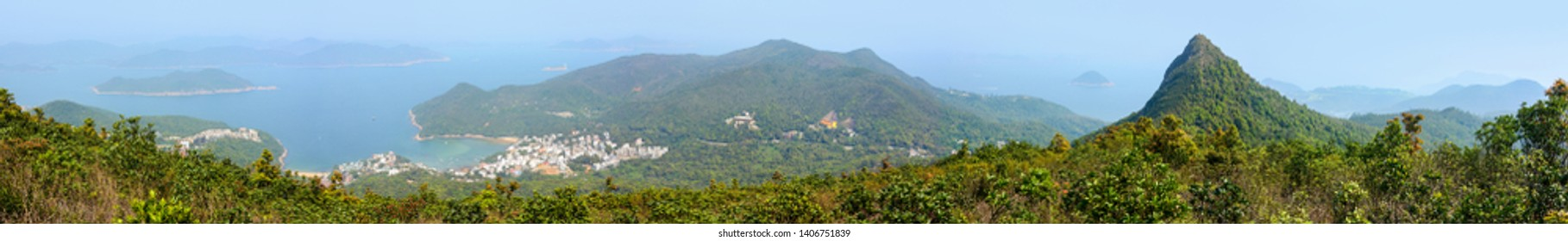 Panorama of Clear Water Bay Country Park and High Junk Peak in Hong Kong