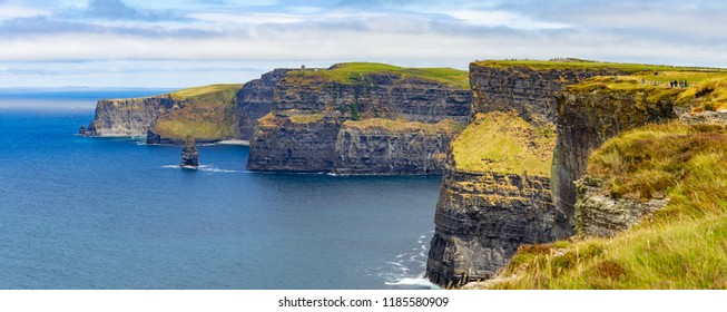 Panorama of the cliffs in Cliffs of Moher, Doolin, Clare, Ireland