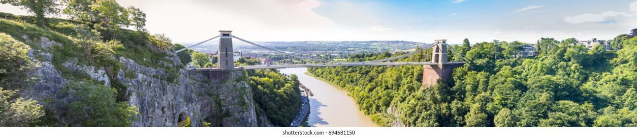 Panorama of Clifton Suspension Bridge, Bristol, Avon, England, UK