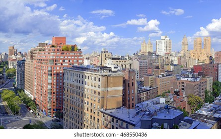 Panorama of Closely packed buildings and City Skyline of Upper West Side of Manhattan, New York City