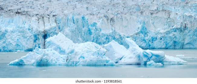Panorama Closeup of an Iceberg in Front of the Dawes Glacier on the Endicott Arm, Alaska