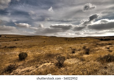 Panorama of clouds in the desert in HDR