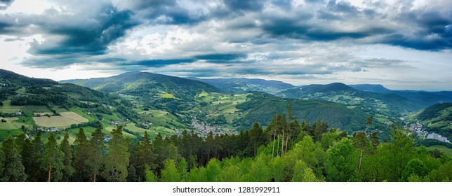 Panorama and clouds over the alsace landscape in northern France