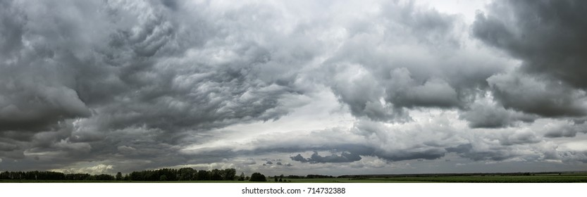 Panorama of cloudy gray sky