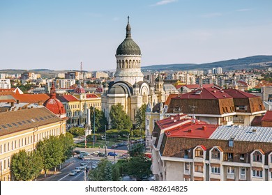 Panorama of Cluj Napoca with The Dormition of the Theotokos Cathedral, Transylvania, Romania