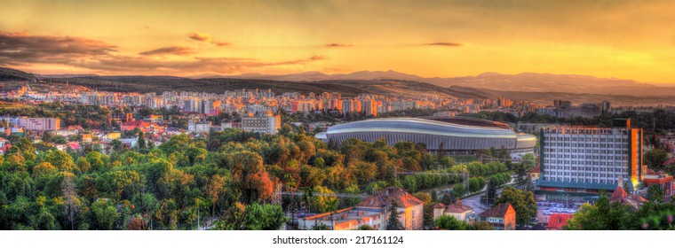 Panorama of Cluj-Napoca with stadium - Romania