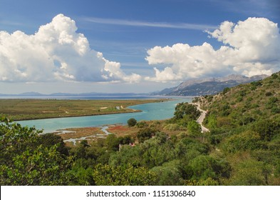 Panorama of coast of the Ionian Sea. Butrint National Park. UNESCO World Heritage site. Nature and travel. Albania, Vlora County, near Saranda
