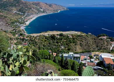 panorama of the coast of Ionian sea from greek theater in Taormina  in a summer day,sicily ,Italy