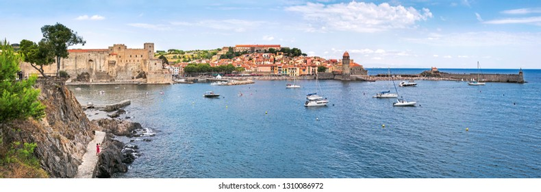 Panorama of the coastal Mediterranean town Collioure in Languedoc-Roussillon, France