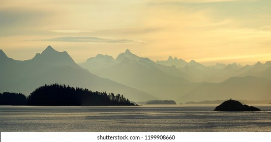 Panorama of the Coastal Mountains of Alaska from the Ocean at Sunset