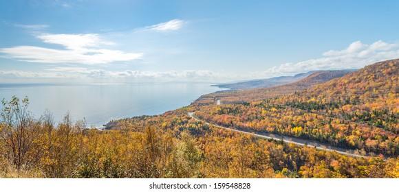 Panorama of  Coastal Scene on the Cabot Trail (Cape Breton, Nova Scotia, Canada)