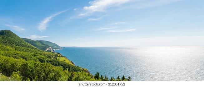 Panorama of a coastal scene on the cabot trail (Cape Breton, Nova Scotia, Canada)