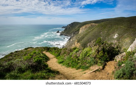 Panorama of coastline from trail, Pirates Cove Trail, Marin Headlands, Golden Gate National Recreation Area, California, United States