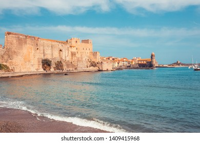 Panorama of Collioure harbour, Languedoc-Roussillon, France, South Europe. Ancient town with old castle on Vermillion coast of French riviera. Famous tourist destination on Mediterranean sea