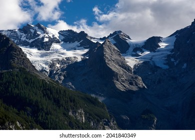 Panorama of a colored mountain landscape in South Tyrol, Italy with the snow covered mountains. High quality photo