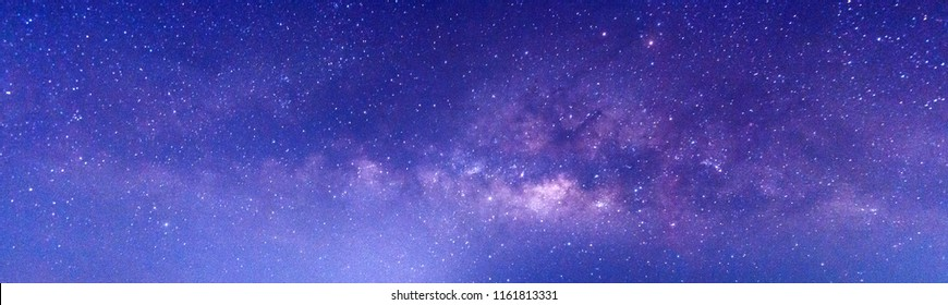 Panorama Colorful Blue night sky milky way and star on dark background.Universe filled with stars, nebula and galaxy with noise and grain.Photo by long exposure and select white balance.