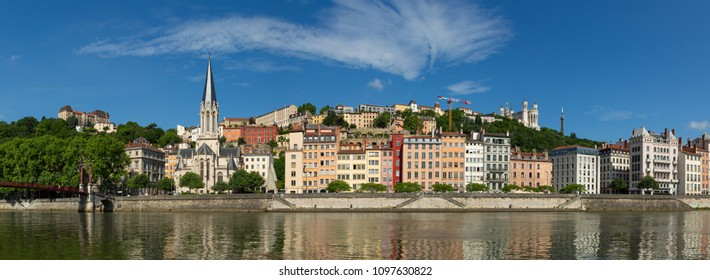 Panorama of the colorful buildings of UNESCO world heritage site Vieux-Lyon over the Saone river. Lyon, France.