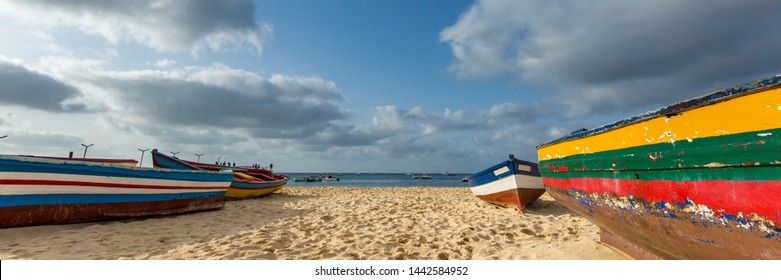 Panorama of colorful fishermen's boats on the beach in Santa Maria, Sal, Cape Verde, Cabo Verde