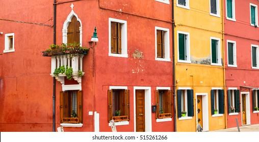 Panorama with colorful houses of italian Burano island near Venice, Italy