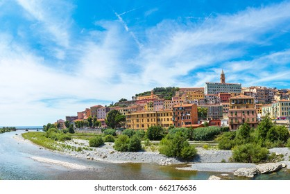 Panorama of Colorful houses in old town of Ventimiglia in a beautiful summer day, Italy