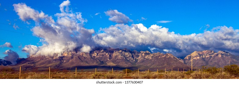 Panorama of colorful rocks of the Chiricahua Mountains, one of Arizona's sky islands, as clouds rise after a storm