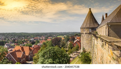 Panorama of colorful sky over the historic castle and city of Bad Bentheim, Germany