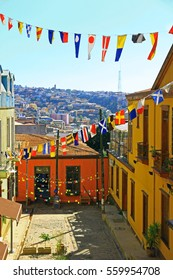 Panorama of colorful street of the UNESCO world Heritage of Valparaiso, Chile, South America