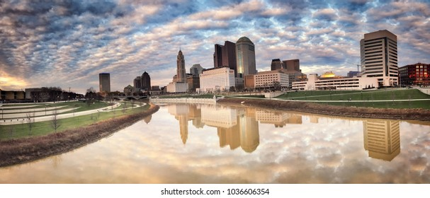 Panorama of the Columbus, Ohio skyline along the Scioto River in the downtown district of the city.