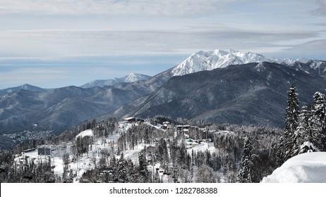 Panorama of the combined ski-biathlon complex. Mountain resort, Laura, GAZPROM