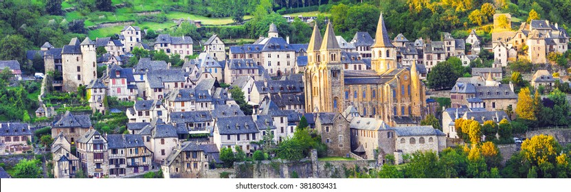 panorama of Conques medieval village and abbey Saint Foy, France