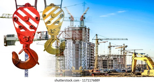 Panorama of construction at the background of blue sky