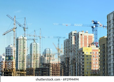 Panorama of the construction of modern residential district . Collage