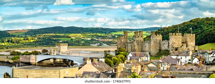 Panorama of Conwy with Conwy Castle. UNESCO world heritage in Wales, United Kingdom