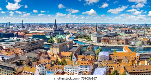 Panorama of Copenhagen in Denmark in a summer day