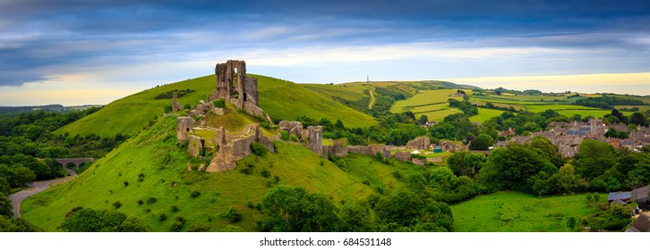 Panorama of Corfe Castle and village in Dorset, Uk.